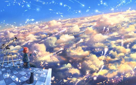 Фото Девочка с чашкой в руке, с кошкой сидят перед облаками