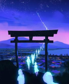 Фото Души людей проходят сквозь тории, чтобы попасть на небо, by Hideyoshi