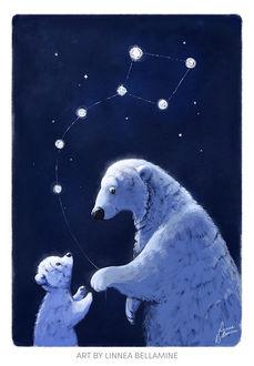 Фото Медведица дает медвежонку созвездие медведицы, by Linzu