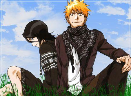 Фото Kuchiki Rukia / Кучики Рукия и Kurosaki Ichigo / Куросаки Ичиго сидят рядом на траве аниме Bleach / Блич