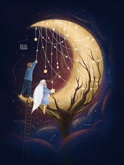 Фото Мальчик с девочкой дотрагиваются к звездам на месяце, иллюстратор Ульяна Бабенко