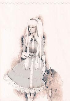 Фото Белокурая девушка, одетая в викторианском стиле, с волком, art by Loputyn