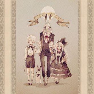 Фото Мужчина с черепом с кроличьими ушами вместо головы держит за руки белокурых девочку и мальчика с кроликом на поводке, стоя под луной (ILL UNE), art by Loputyn