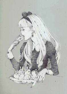 Фото Белокурая девушка ест живых кроликов-единорогов, art by Loputyn