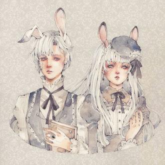 Фото Белокурые брат с книгой, с залепленной пластырем раной на щеке, и сестра с ножницами в руке, одетые в викторианском стиле, с кроличьими ушками на макушке, art by Loputyn
