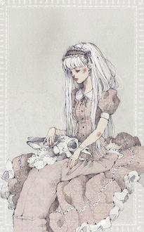 Фото Белокурая девушка, одетая в розовое платье в викторианском стиле, сидит, поглаживая череп с кроличьими ушами, лежащий у нее на коленях, art by Loputyn