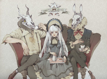 Фото Белокурая девушка, одетая в викторианском стиле, с подносом на коленях, сидит на диване между двумя монстрами с черепами козла и кролика вместо голов, пьющими чай из чашек (Camellia Sinensis), art by Loputyn