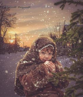 Фото На закате дня девочка согревает руки, by Владмир Малышев