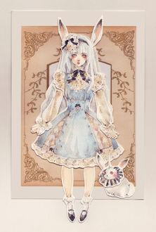 Фото Аппликация с белокурой девушкой с кроличьими ушками, одетой в викторианском стиле, и кроликом-единорогом рядом, art by Loputyn