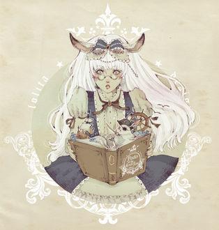 Фото Белокурая девушка с кроличьими ушками, одетая в викторианском стиле, читает книгу про пиратов (Lolita / Лолита), art by Loputyn
