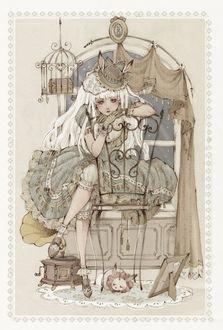 Фото Белокурая девушка с кроличьими ушками, одетая в викторианском стиле, со скучающими видом сидит в комнате на стуле, под которым спит кролик-единорог, у окна, рядом висит клетка с сундуком, стоит граммофон и фоторамка, art by Loputyn
