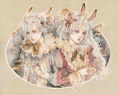 Фото Белокурые брат и сестра с кроличьими ушками и рогом единорога, одетые в викторианском стиле, среди грибов, art by Loputyn