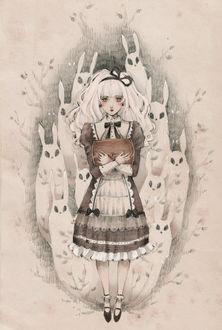 Фото Белокурая девушка, одетая в стиле готической Лолиты, с призраками кроликов за спиной, прижимает к себе сундук, art by Loputyn