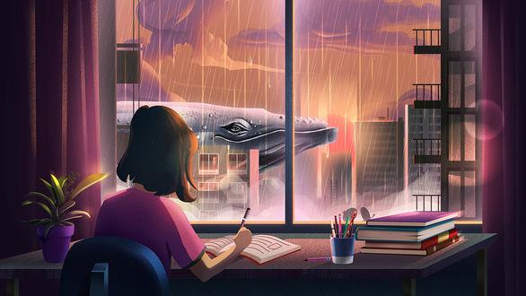 Фото Девочка сидит за столом у окна, за которым проплывает кит, иллюстратор Lonely Whale