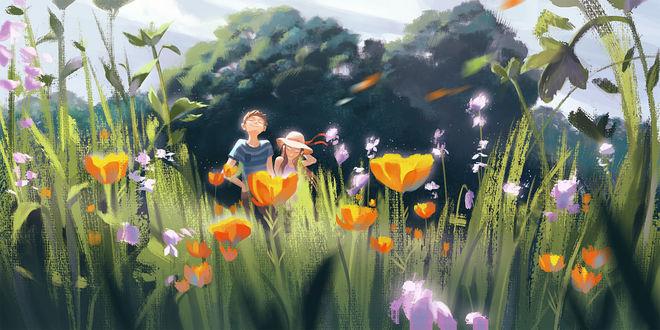 Фото Мальчик с девочкой на цветочном поле, by Felicia Chen