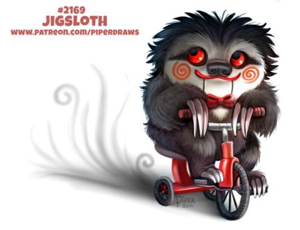 Фото Ленивец на трехколесном велосипеде в образе куклы Билли / Billy из фильма Saw / Пила (Jigsloth), by Cryptid-Creations