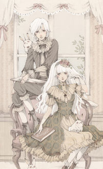 Фото Белокурые брат и сестра, одетые в викторианском стиле, с книгами и кроликами-единорогами сидят у окна, art by Loputyn