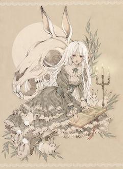 Фото Белокурая девушка, одетая в викторианском стиле, читает книгу при свечах, сидя возле гигантского черепа кролика, art by Loputyn