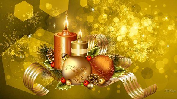Фото Новогодний натюрморт с шариками и свечами на золотистом фоне с бликами, by MaDonna