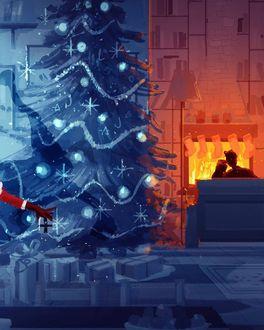 Фото Парень с девушкой сидят у камина в комнате с новогодней елкой, by PascalCampion