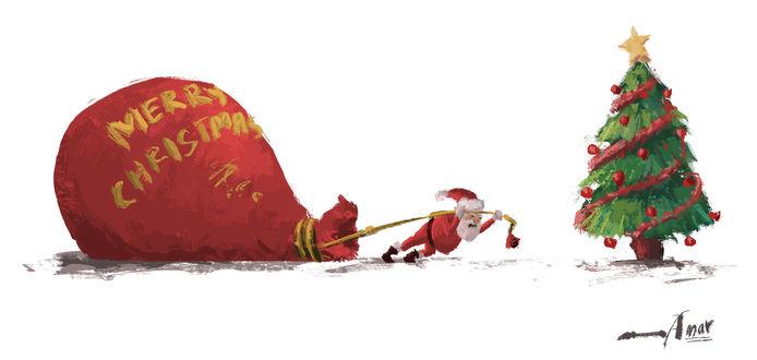Фото Санта-Клаус / Santa Claus тащит огромный мешок с подарками к наряженной елке (Merry Christmas / Счастливого Рождества), by AMAR GUPTA