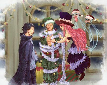 Фото Perona / Перона и Mihouk Hawkeye / Михоук «Соколиный глаз» наряжают единственное найденное зеленое дерево. В роли новогодней елки Roronoa Zoro / Ророноа Зоро арт аниме Ван Пис / One Piece