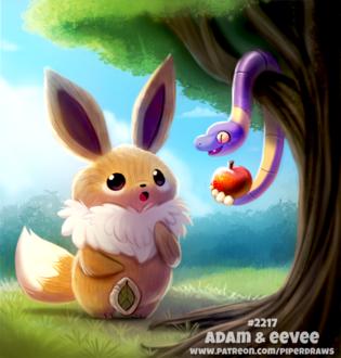 Фото Eevee / Иви из аниме Pokemon / Покемон стоит рядом с деревом, где свисает с яблоком змей (Adam and Eevee), by Cryptid-Creations