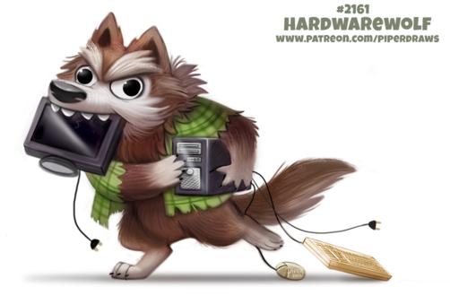 Фото Волк в зеленой клетчатой рубашке с монитором в пасти, системником в руках клавиатурой и мышкой (Hardwarewolf), by Cryptid-Creations
