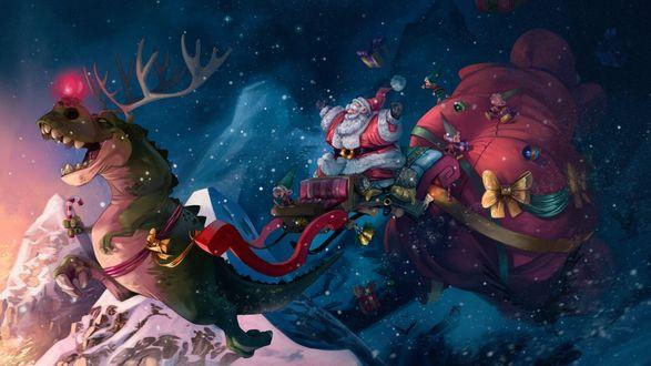 Фото Санта-Клаус / Santa Claus летящий с гномами в санях, запряженными тиранозавром, в ночном небе, by Alex Mamedes