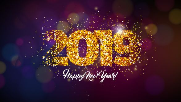 Фото Цифры 2019 из разлетающихся блестящих звездочек на фоне с бликами (Happy new year / С Новым годом)
