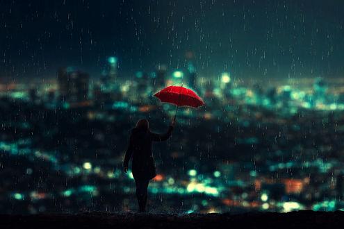 Фото Девушка с красным зонтом стоит под дождем, by BaxiaArt