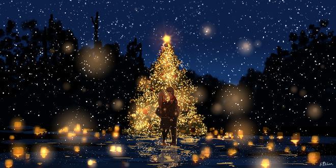 Фото Парень с девушкой стоят у сияющей елки