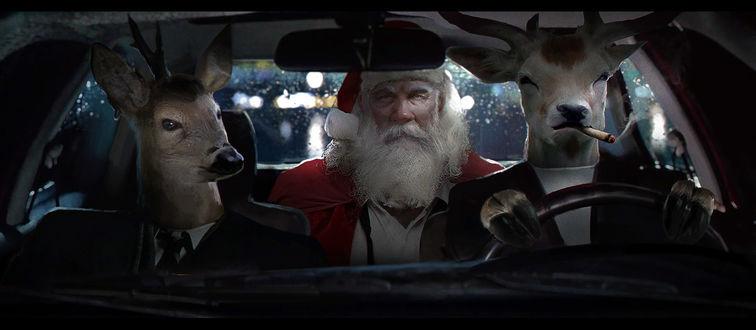 Фото Два оленя-телохранителя везут Санта-Клауса в автомобиле, by Brandon Choo Chen Liang