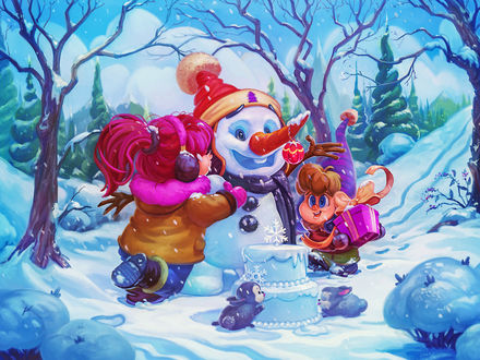 Фото Две девочки поздравляют снеговика с Днем рождения и дарят ему подарок, а зайчики лижут торт из снега, by Ilina Simova