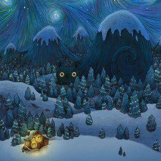 Фото Большой кот в виде горы с заснеженной вершиной лежит в лесу с новогодними елками, by Brittany E Lakin