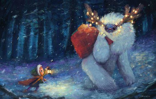 Фото Девочка с фонарем в руке и фантастическое животноt с мешком в лесу, by Lenny Wen