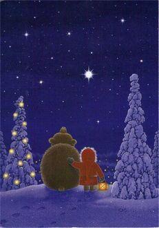 Фото Девочка с медведем смотрят на ночное небо, by Eva Melhuish