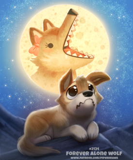 Фото Грустящий волк по волчице на фоне полной луны (Forever Alone Wolf). by Cryptid-Creations