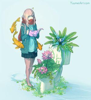 Фото Девочка со слоником в руках и рыбами рядом стоит перед цветами, by YuumeiArt