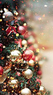 Фото Украшенная новогодняя елка