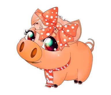 Фото Кокетливая свинка с бантом - символ года