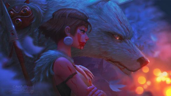 Фото Princess Mononoke / Принцесса Мононокэ и богиня-волчица Moro / Моро из аниме Princess Mononoke / Принцесса Мононоке / Mononoke Hime, by ArtfulBeast