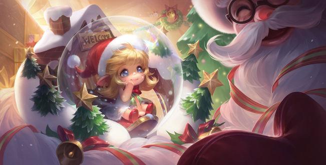Фото Дед Мороз смотрит на девочку в новогодней шапке