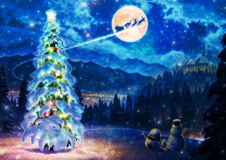 Фото Семейство снеговиков машет Санте, пролетающему в ночном небе, by Kupe