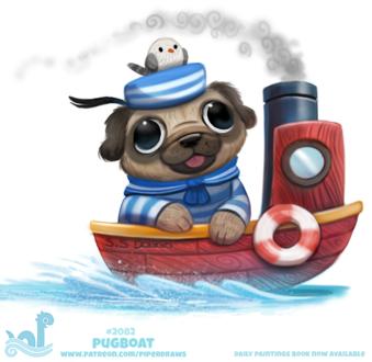 Фото Матрос мопсик и чайка на кораблике (Pugboat), by Cryptid-Creations