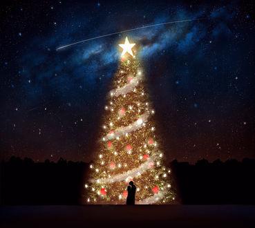 Фото Влюбленная пара стоит возле новогодней елки ночью