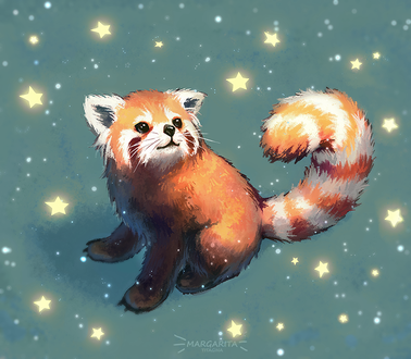 Фото Красная панда под падающим снегом и звездами, by Mar-ka