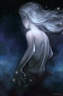 Фото Белокурая девушка среди космической туманности, by Noxaunu