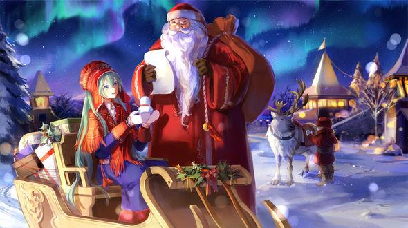 Фото Vocaloid Hatsune Miku / Вокалоид Хацуне Мику и Santa Claus / Санта Клаус