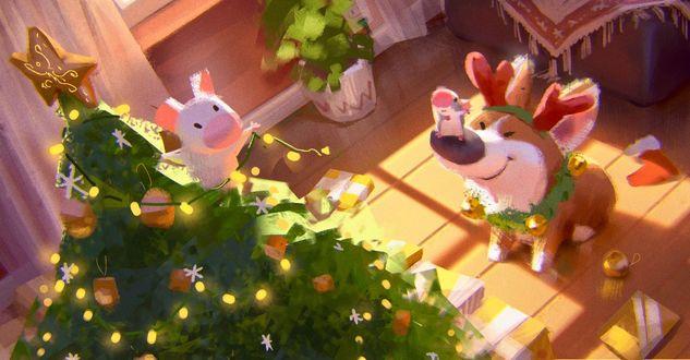 Фото На носу собаки породы корги сидит мышка и смотрит на новогоднюю елку, на которой сидит хрюшка, by Lynn Chen